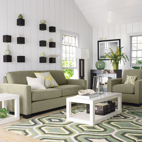 beachy living room beige white green