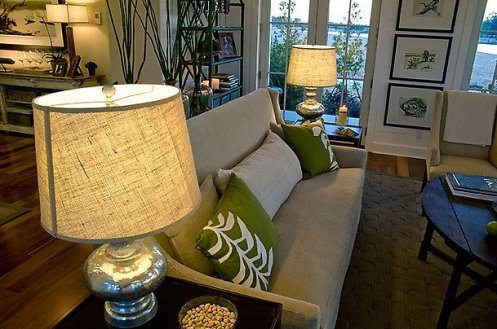 beachy living room green and beige sand linen