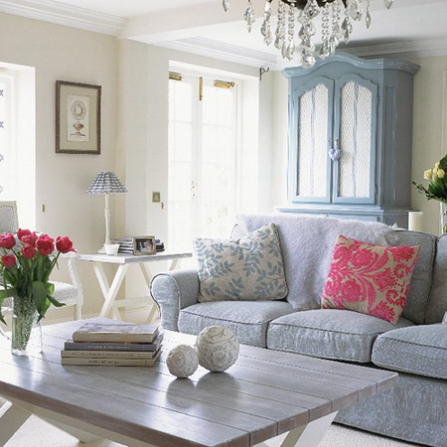 blue lilac white romantic country living room