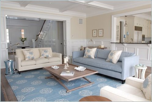 cream, white and powder blue beach style living room, sand