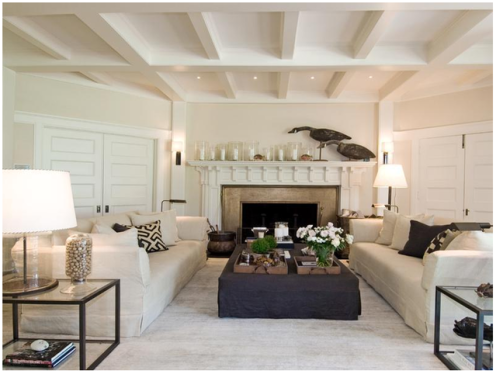 beige and white beach style living room lounge