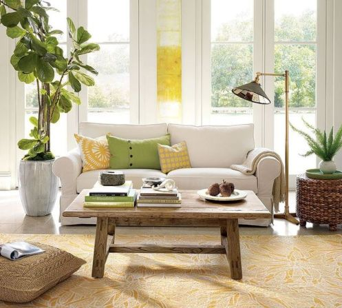 white green yellow modern living room wooden coffee table
