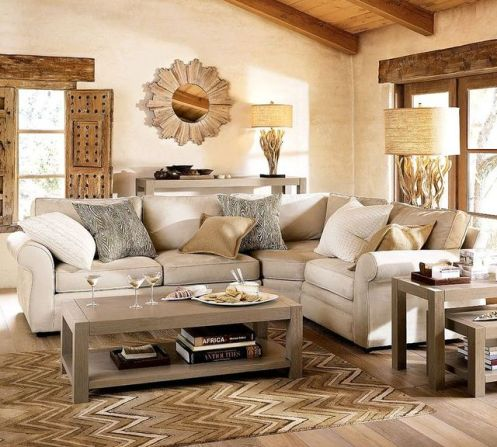 beige gerey cream living room natural look with sun mirror