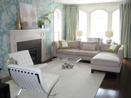 light powder baby blue and white country modern living room