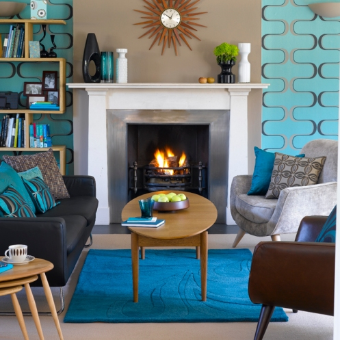 beige and blue retro living room with sun mirror and fire place