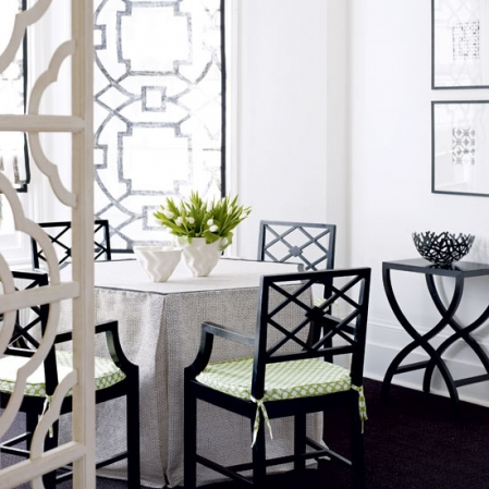 black and white dining room chinese lattice modern style