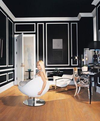 black and white modern living room lounge donatella