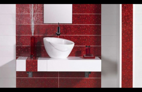 red and white glamorous bathroom tiles white marble bucket sink