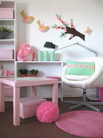 mint green white pink bursery or kids room girl