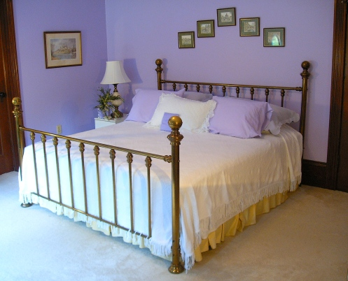 lilac and white romantic country bedroom gold bed