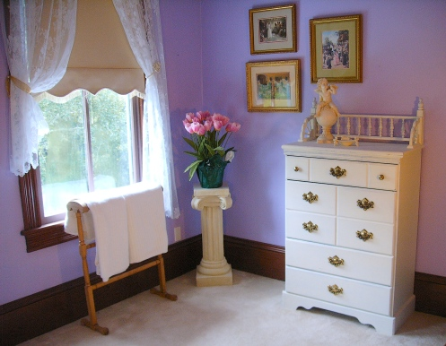 lilac and white romantic country bedroom