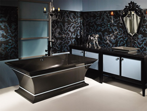 hot shimy sparkly bathroom black and blue bathtub, chandelier and mirror