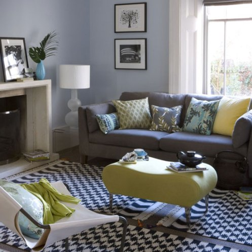 retro modern living room blue white grey yellow