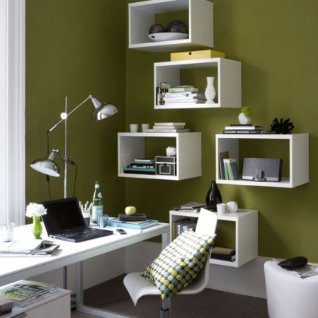 olive green and white retro modern home office desk
