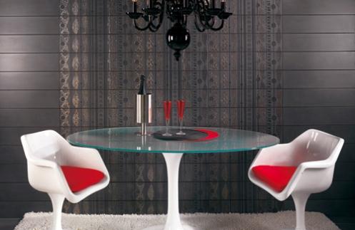 black white red black chandelier, white furniture retro modern