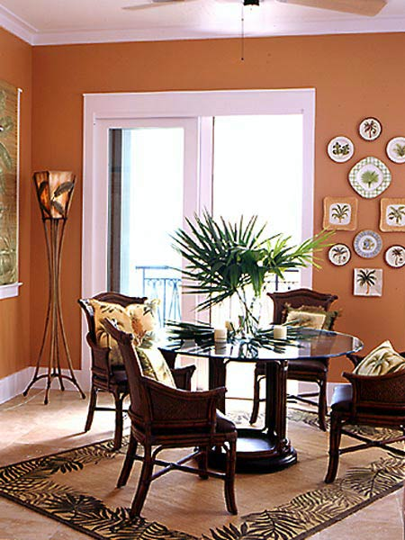terracotta white and dark brown dining room area