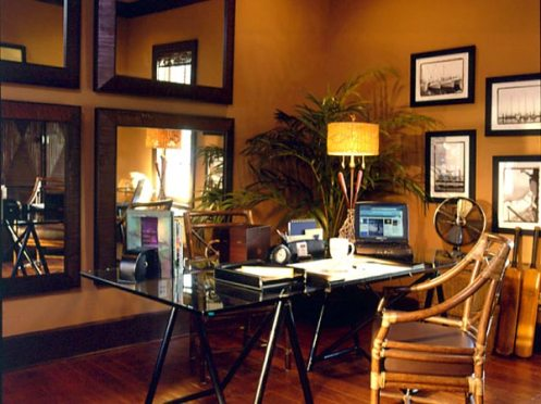 terracotta and brown cozy home office
