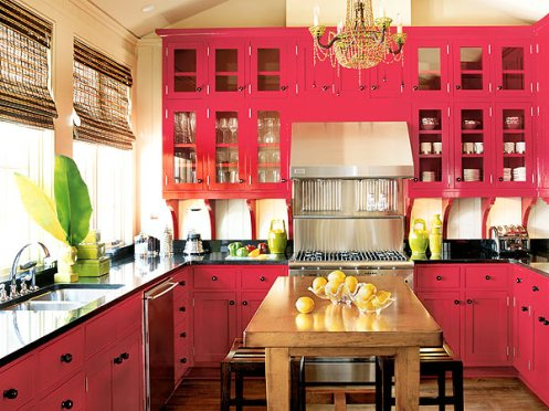 hot pink, black and white modern kitchen