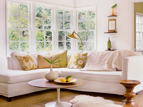 sunny white green yellow living room white couch
