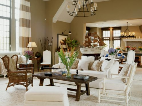 beige and white beachy nautical style living room