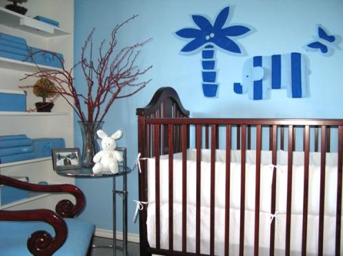 blue felt decor nursery