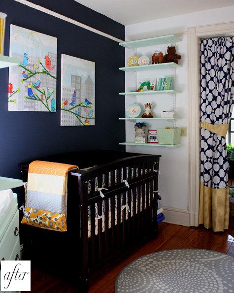 modern black and yellow nursery