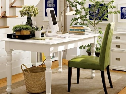 white and green classic modern natural look home office