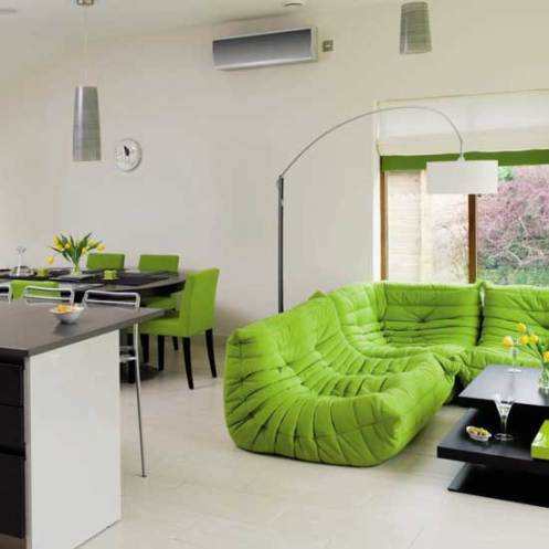 White and green modern minimalistic living room