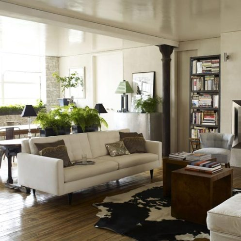 open plan living room white and beige brown modern