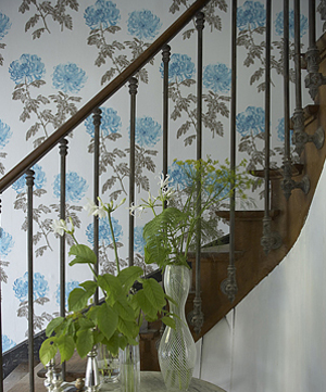 white blue brown floral modern wallpaper in stairs stairway