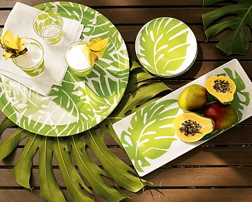 white and green plam leaf tropical style outdoor dinnerware