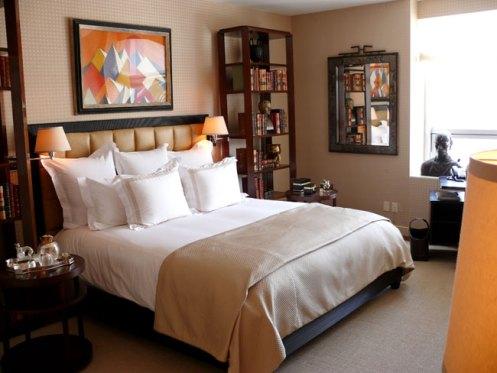 beige and orange bedroom