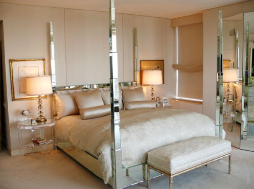 posh classy glamorous cream bedroom mirror bed