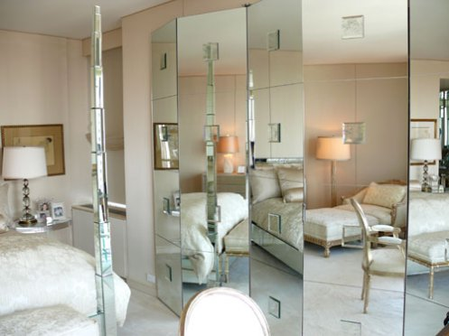 posh glamorous bedroom mirror wall and mirror bed