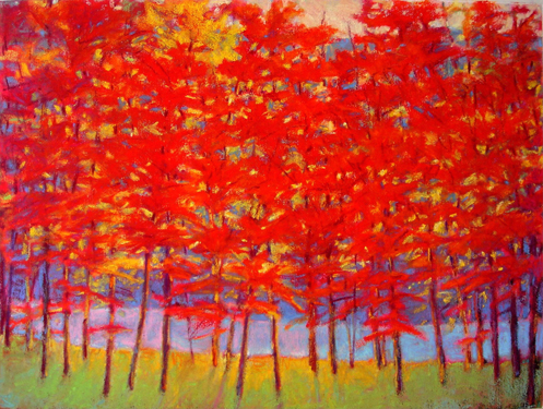 ken elliott pastel forest red purple