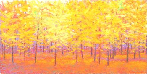 ken elliott pastel forest painting yellow purple