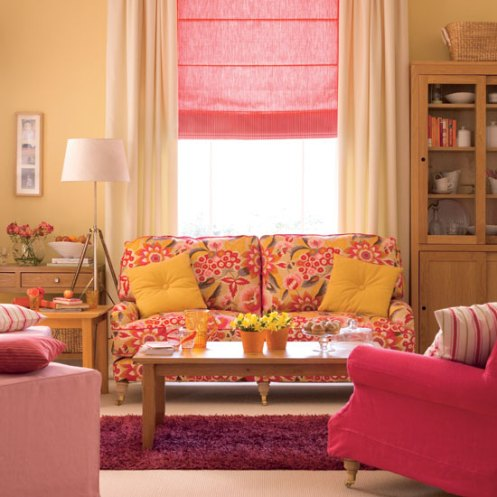 pink peach yellow pattern room sofa