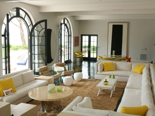 minimalistic white and yellow and black living room