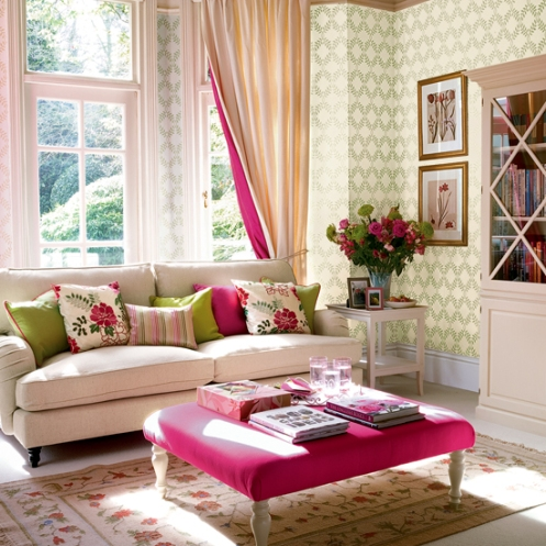 pink cream and green romantic country light soft living room