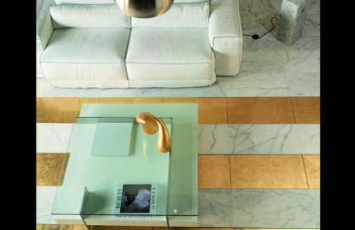white, turquoise and gold living room gold stripe floor tiles