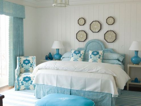 light blue and white classic modern master bedroom
