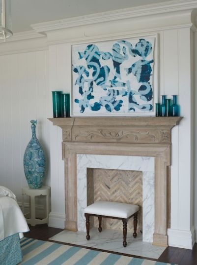 blue and white bedroom fireplace