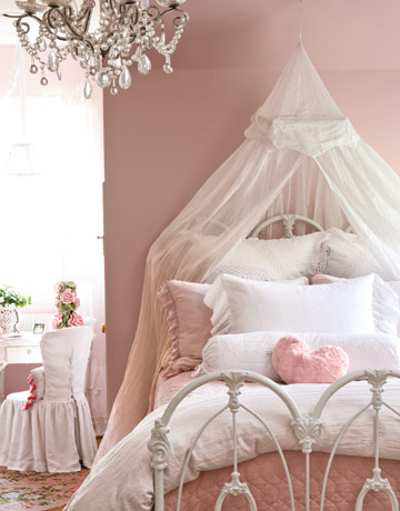 light soft pink and white bedroom