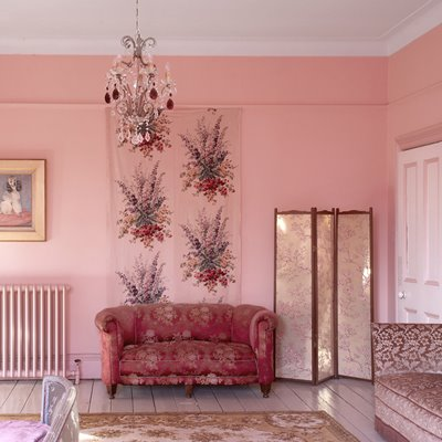 pink living room lounge white classic modern