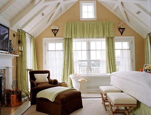 bedroom with a bathrub, natural fiber wallpaper
