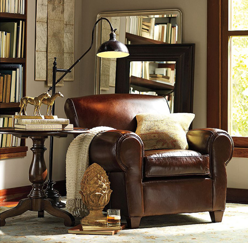 brown leather couch chair in beige greige room