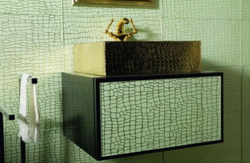 turquoise and gold tiles bathroom gold square sink