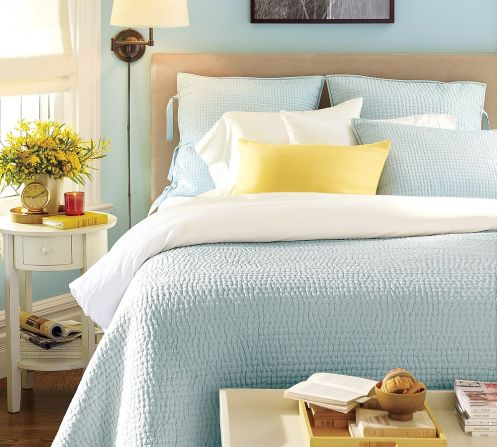 light blue aqua and yellow bedroom