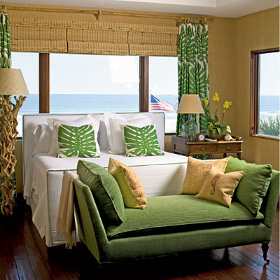 natural colors beige and green bedroom