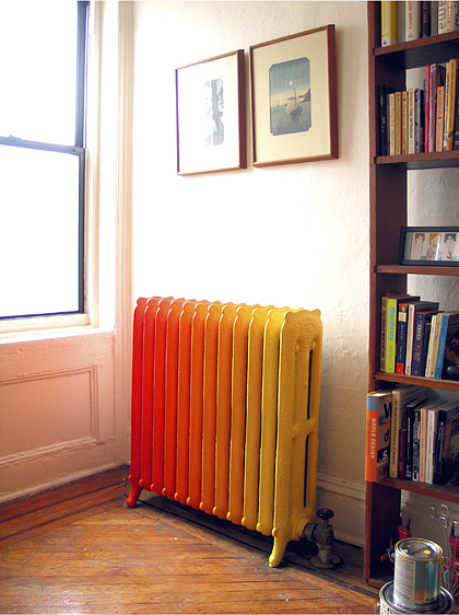 red orange yellow rainbow retro radiator